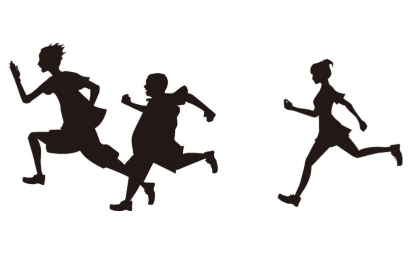 走るシルエット
